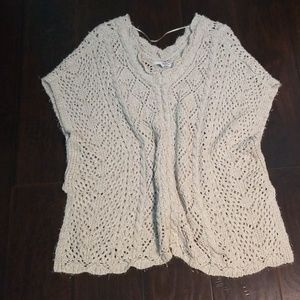 White Throw Over Short Sleeve Sweater L-XL